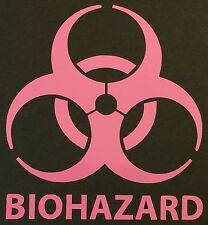 1 NEW PINK BIOHAZARD LOGO WARNING DANGER ZOMBIE OUTBREAK VINYL DECAL STICKER