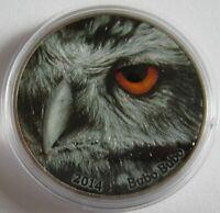 Kongo 2000 Francs 2014 Nature's Eyes Uhu (Bubo bubo) 2 Oz Silber