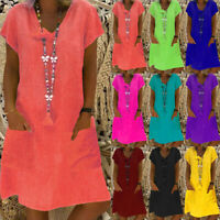 Womens Summer Pure V neck Baggy Ladies Holiday UK Rockabilly Midi Shirt Dress