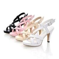 New Summer Women Cross Strappy Peep Toe Sandals Buckle Lady Shoes Pumps UK Size