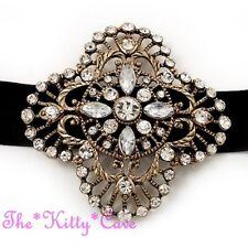 Vintage Baroque Moulin Gatsby Gold Ribbon Choker Necklace w/ Swarovski Crystals