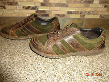 Womens BORN W42112 Sz 39 US 8 M/W Brown Leather & Green Suede Lace-up Shoes
