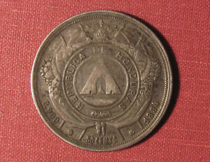 1884 HONDURAS 50 CENTAVOS - SCARCE TYPE IN GREAT CONDITION, .900 FINE SILVER!