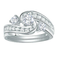 Round White Cz 925 Sterling Silver For Women Wedding Engagement Ring Set Sz 5-10