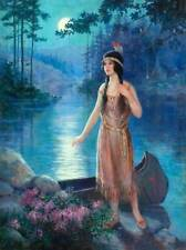 Indian Maiden Moon Light Stream by Adelaid Hiebel