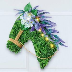 Lighted Lavender Horse Head Boxwood Welcome Home Door Wreath