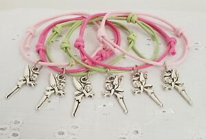 6 Tinkerbell Fairy Friendship Bracelets Birthday Party Bag Gift Favors Prize hen