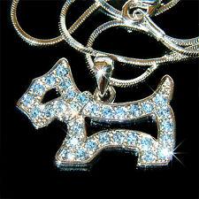 w Swarovski Crystal ~Blue Scottie DOG~ WESTIE SCOTTISH Jewelry Pendant Necklace