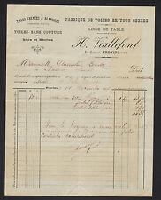 """PROVINS (77) USINE de TOILES & LINGES DE TABLE , SACS """"H. VIALLEFONT"""" en 1907"""