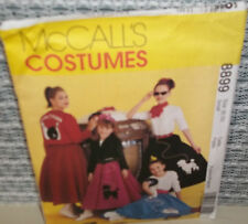 McCalls 50's Patterns /Poodle Skirt/Jacket 8899 Girls/Misses Sz SM,8,10. New.