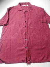 Wilke Rodriguez Mens Shirt Size XLT Red Paisley Short Sleeve Button Front Silk