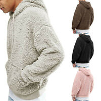 Men Fluffy Pullover Fleece Sweater Winter Hoodie Warm Coat Hooded Sweatshirt USA