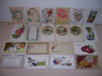 1910s UNUSED ANTIQUE VICTORIAN GREETINGS POSTCARD LOT of 20 DIFF. #3
