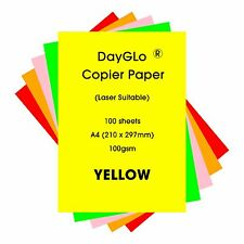 Dayglo Fluorescent 100gsm A4 paper, 100 sheets, Yellow