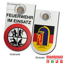 """KFZ Schild """"Feuerwehr im Einsatz"""" weiß mit Saug (Feuerwehr, Brandschutz)"""