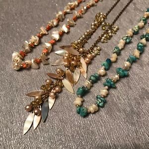 """3 x Natural Stone Shell Statement Necklace - Orange Green Faux Pearl 15"""" 16"""" 19"""""""