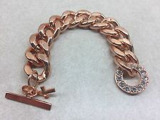Just Jewelry Rose Gold and Rhinestone Bracelet with cross charm