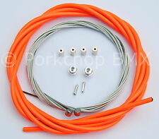 Bicycle 5mm LINED brake cable housing and hardware kit BMX MTB NEON ORANGE