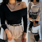 Womens Sexy One Off Shoulder Slim Tops Long Sleeve Blouse Pullover T-Shirt
