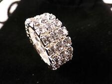 Clear Crystal Rhinestone Silver Tone Stretch Rings 1 - 5 Rows Bridal Prom Bling