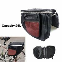 25L Bicycle Rear Seat Bag Double Side Bike Rack Tail Bag Trunk Luggage Carrier