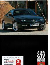 Alfa Romeo  GTV 916 2.0 3.0 V6 Edizione Sportiva 8 Page Brochure Prospekt 2001