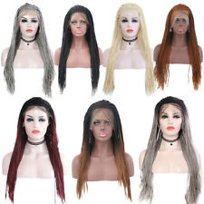 Long Micro Braids Lace Front Wigs for Black Women Synthetic Crochet Braided Wigs
