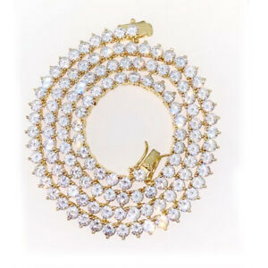 """14K Yellow Gold Finish 4mm Round Cut Diamond Tennis Necklace 18"""" For Women's"""