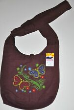 Rising International Handcrafted Brown Flower Hippie Boho Bag Made in Nepal Nwt
