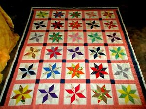 VINTAGE HAND STITCHED COLORFUL PINWHEEL QUILT HAND PIECED  PATCHWORK