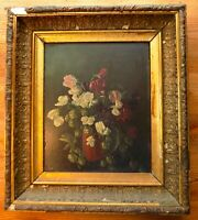 ANTIQUE OIL PAINTING Floral Dark Background Antique Gold FRAME Wood Backing