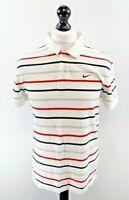 NIKE Mens Polo Shirt L Large White Red Black Grey Stripes Cotton