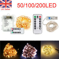50/100/200 LED Battery/USB Plug In Fairy String Lights Cooper Wire Remote Xmas
