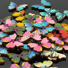 50pcs 2 agujeros forma mariposa Mixta costura de madera Scrapbooking DIY Botones