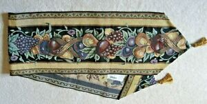 TAPESTRY TABLE RUNNER ~ OLD WORLD ITALY ~ GRAPES, FRUIT, LEAVES ~ 13 X 72 ~ EUC!