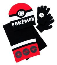 POKEMON POKEBALL Knit Winter Beanie Hat, Gloves & Scarf Set Ages 4-12 NWT