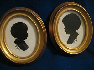 VINTAGE SET  OF 2 SILHOUETTES  IN GOLD GILT OVAL FRAMES