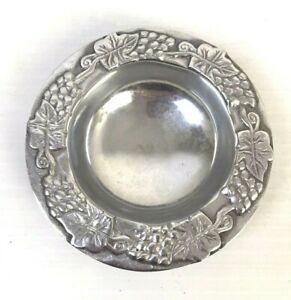"Metal Bowl Grapevine Heavy Aluminum Candy Dish Trinket Holder 8"" D Farmhouse"
