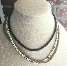 """& Black Seed Beads Rope Twist 22"""" Artisan Multi Strand Necklace Brown Chartreuse"""