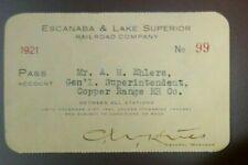 1921 Escanaba and Lake Superior Copper Range Railroad Gen. Superintendent Pass