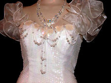 Loralie Vtg Womens Dress White Iridescent Sequins Ruffle Sleeves Pearls Beads