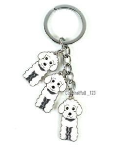 White Cockapoo Dog Keyring Bichon Dog Keychain Gift Cute Poodle Puppy Keyring UK