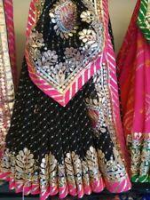 Indian Rajasthani Leheria Bandhej Saree Gota Patti Handwork Wedding Lehenga Sari