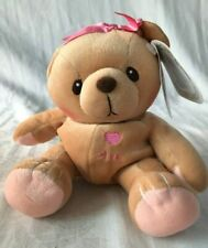 """Cherished Teddies Plush AVA 7"""" Brown Teddy Bear with Pink Bow Stuffed Toy New"""