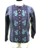Tulchan Vintage Wool Cardigan sweater embroidered Size Sz S M Small  to  Medium