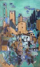 """André MARCHAND (1907-97) HsT Nle Ecole de Paris  """"La terrasse à San Gimignano"""""""