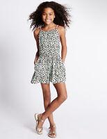 BNWT M&S Girls Black White Print Pink Trim Strappy Playsuit