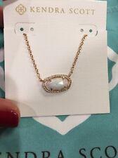Kendra Scott White Kyocera Opal Rose Gold Lux Elisa necklace