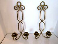 Vintage Pair Of Solid Twisted Brass Sconce Wall Hanging Candle Holders 12""
