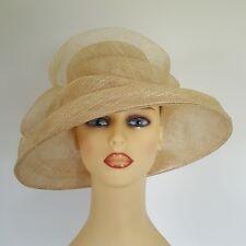 Ladies Formal Wedding Hat Races Mother Bride Cream Swoops
